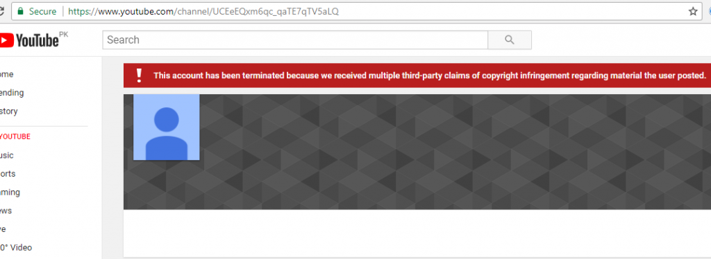 Hum Tv YouTube channel suspended