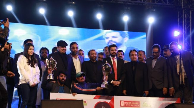 Presenting awards to the winners and runner up of Tape Ball Tournament